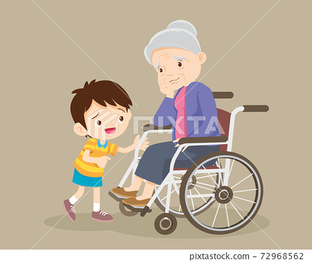 soothe sad grandmother sitting on wheelchair with grandchildren 72968562