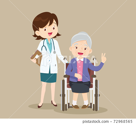 doctor and grandmother sitting on wheelchair 72968565