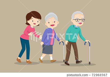 woman help Elderly couple walking cane 72968567