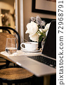Tea cup laptop in coffee shop vintage effect style pictures 72968791