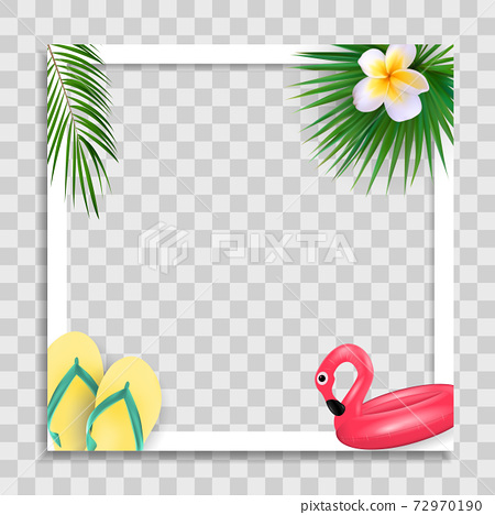 Empty Photo Frame Template with Summer Palm Leaves for Media Post in Social Network. Vector Illustration EPS10 72970190