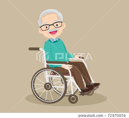grandfather sitting on wheelchair 72970856