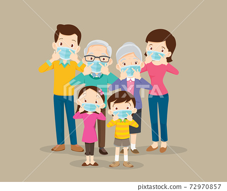 family wearing protective Medical mask 72970857