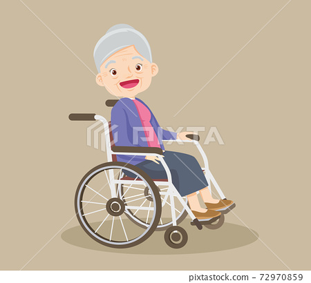 grandmother sitting on wheelchair 72970859