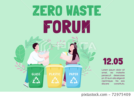 Zero waste forum banner flat vector template. Trash sorting and recycling. Brochure, poster concept design with cartoon characters. Eco friendly living horizontal flyer, leaflet with place for text 72975409