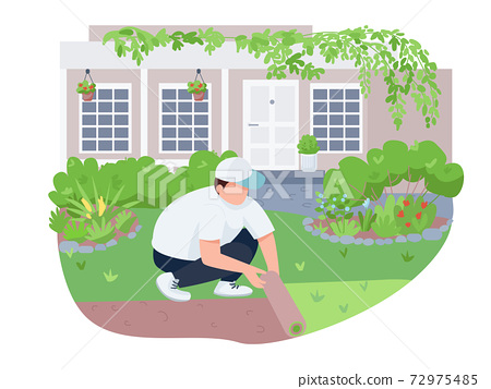 Courtyard greening, lawn care 2D vector web banner, poster. Man with roll, gardener flat characters on cartoon background. Yard landscaping, weed control printable patches, colorful web elements 72975485