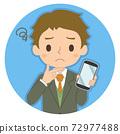 一個人拿著一張智能手機,一張擔心的臉的插圖圖標 72977488