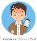 一個人拿著一張智能手機,張生氣的紅臉的插圖圖標 72977530