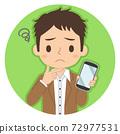 一個人拿著一張智能手機,一張擔心的臉的插圖圖標 72977531