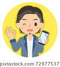 一個人拿著帶有OK手勢的智能手機的插圖圖標 72977537