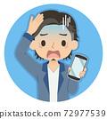 一個人拿著智能手機,有一張藍色的臉龐的插圖圖標 72977539