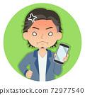 一個人拿著一張智能手機,張生氣的紅臉的插圖圖標 72977540