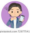 一個人拿著一張智能手機,一張擔心的臉的插圖圖標 72977541