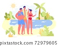 Friends Company Photographing on Tropical Beach Vector Illustration 72979605