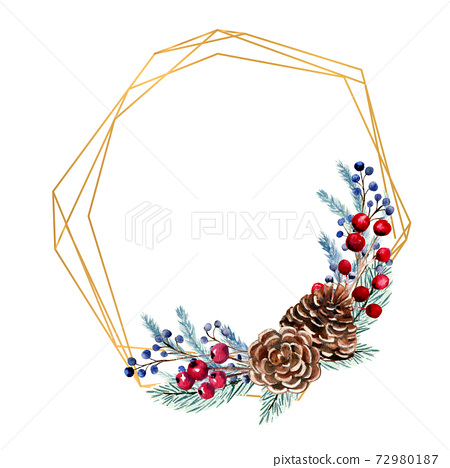 Winter watercolor polygonal frame with berries, fir cones, fir branches. Hand-drawn Christmas illustration. For invitations, greeting cards, prints, posters, advertising 72980187
