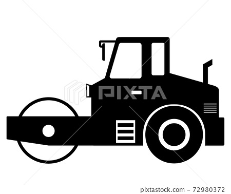 Road roller black and white silhouette 72980372