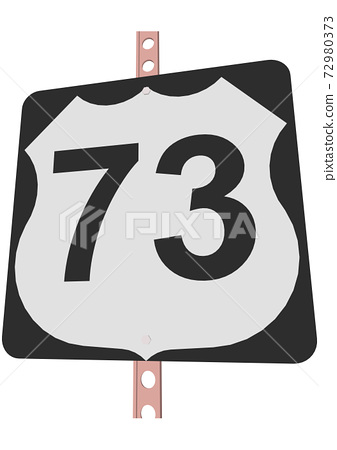 US Route sign with a black frame filled with white, black and white shield sign with route number, vector illustration 72980373