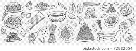 Hand drawn pasta doodles set 72982654