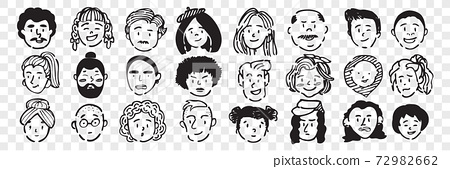 Hand drawn human faces doodle set. 72982662
