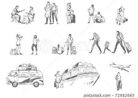 Summer tourism, vacation season concept sketch 72982665