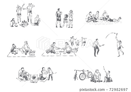 Family outdoor recreation concept sketch 72982697