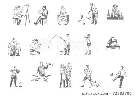 People hobbies, activities concept sketch 72982700