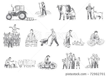 Farming business, rural economy concept sketch 72982701