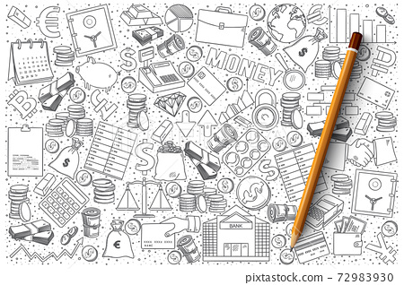 Finance doodle vector set 72983930