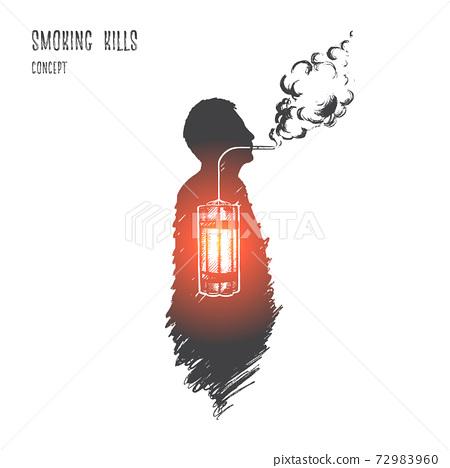 Smoking kills concept. Hand drawn isolated vector. 72983960