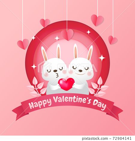 Cute bunny couple holding a realistic red heart. Paper cutout style valentine card. Pink lovely vector. 72984141