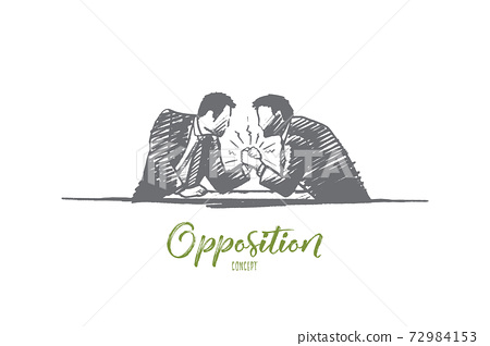 Opposition concept. Hand drawn isolated vector 72984153