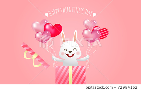 Cute smiling bunny holding heart shape balloons in both hands. Valentine's day greeting card. Surprise gift box concept. 72984162