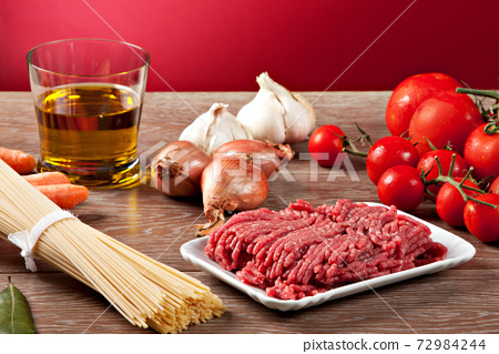 Ingredients for the Bolognese sauce. Typical Italian dish. 72984244