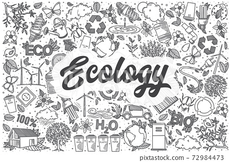 Hand drawn ecology vector doodle set. 72984473