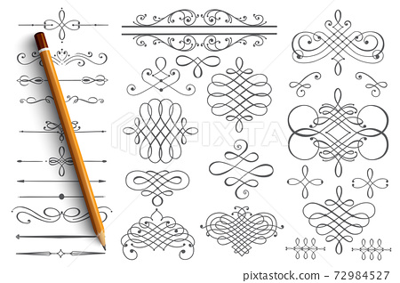 Hand drawn borders set with orange lettering 72984527