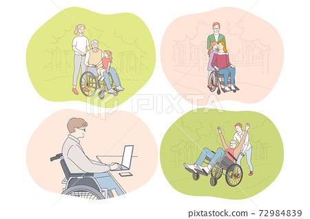 Disabled people on wheelchair living happy active lifestyle concept 72984839