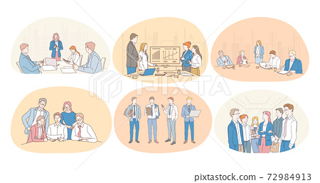 Teamwork, coaching, negotiations, finance, marketing, finance, development, communication concept 72984913