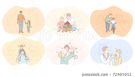 Father and child, fathers day, activities with children concept 72985052