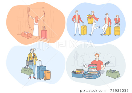 Travelling with luggage, vacations and journey with suitcases concept 72985055