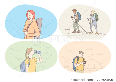 Hiking, tourism, trekking on nature in mountains concept 72985056