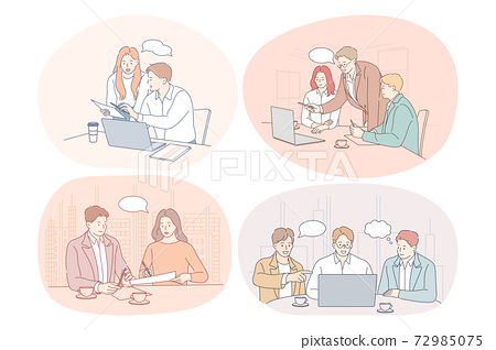 Teamwork, brainstorming, business, negotiations, deal, office, collaboration concept 72985075