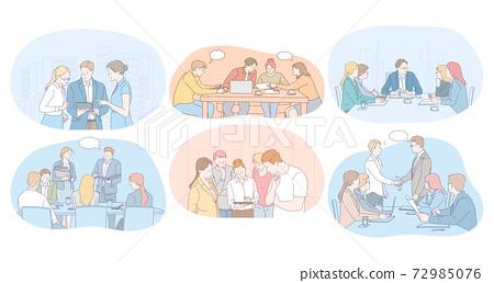 Teamwork, brainstorming, negotiations, meeting, business partners concept 72985076