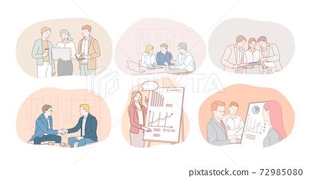 Teamwork, brainstorming, marketing, finance, development, negotiations, agreement concept 72985080