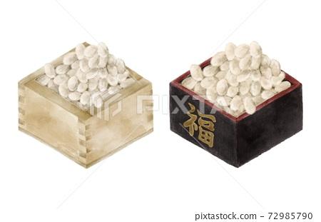 福壽放在盒子裡一組水彩風格的插圖 72985790