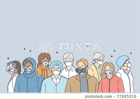 People in protective medical masks, new normal social reality concept 72985816