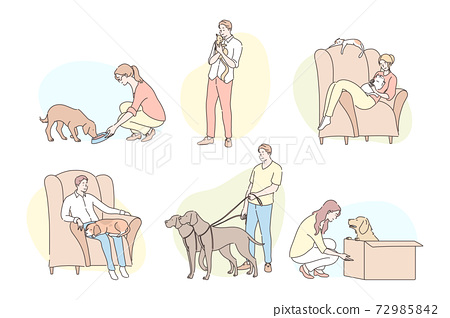 People with pets set concept 72985842