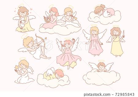 Set of baby angels cupidons concept 72985843