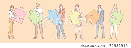 Teamwork, partnership, business cooperation, puzzle set concept 72985916