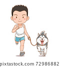 Cartoon character of boy running with Siberian Husky dog. 72986882