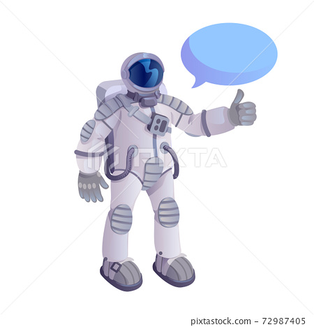 Astronaut showing thumb up flat cartoon vector illustration. Spaceman. Ready to use 2d character template for commercial, animation, printing design. Isolated comic hero with empty speech bubble 72987405